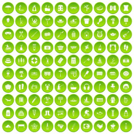 100 recreation icons set in green circle isolated on white vectr illustration Illustration