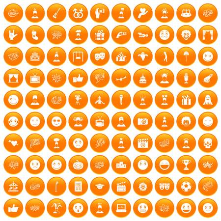 100 emotion icons set in orange circle isolated on white vector illustration