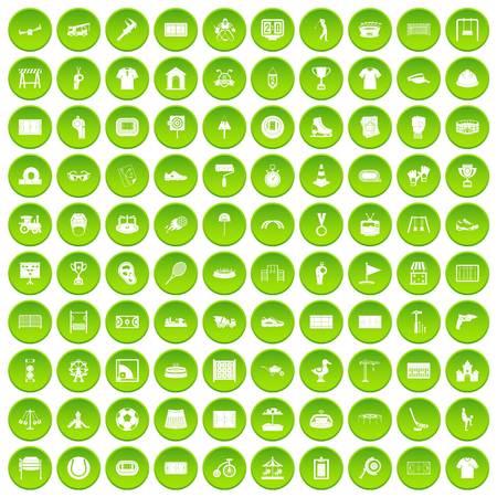 100 icônes de terrain de jeu dans le cercle vert isolé sur blanc illustration vectr Banque d'images - 82894475