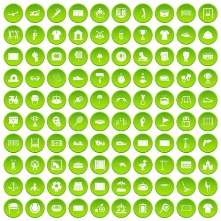 100 playground icons set in green circle isolated on white vectr illustration