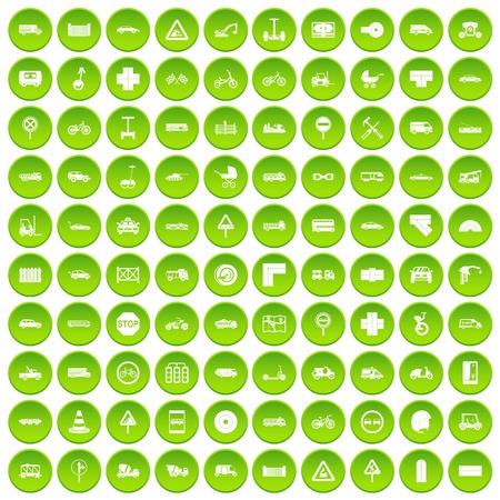 100 road icons set green Illustration
