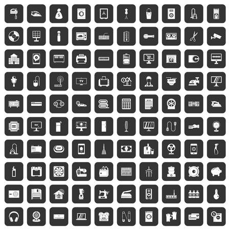 100 appliances icons set in black color isolated vector illustration