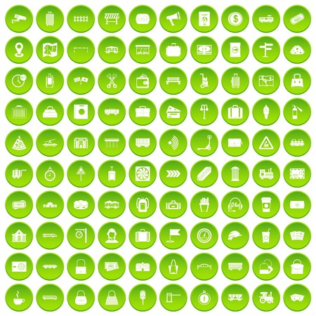 100 railway icons set green Illustration