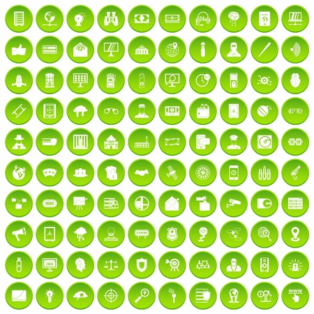 100 security icons set green