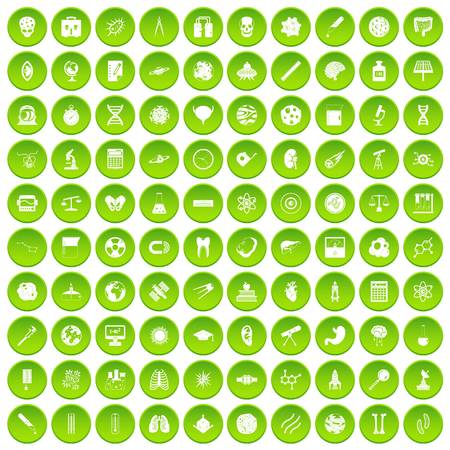 100 science icons set in green circle isolated on white vectr illustration