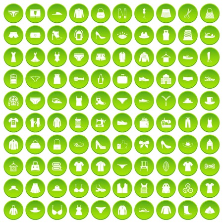 100 sewing icons set in green circle isolated on white vectr illustration Illusztráció