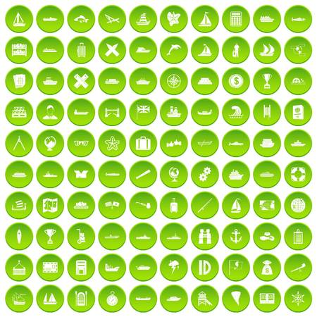 100 shipping icons set in green circle isolated on white vectr illustration