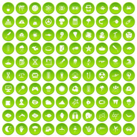 fire and ice: 100 research icons set in green circle isolated on white vectr illustration