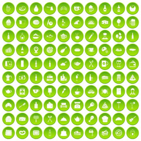100 restaurant icons set in green circle isolated on white vectr illustration Illustration
