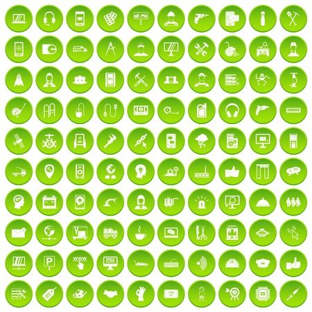 100 support center icons set in green circle isolated on white vectr illustration