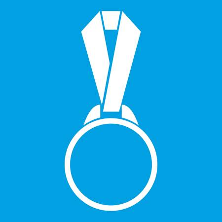 Round medal with ribbon icon white