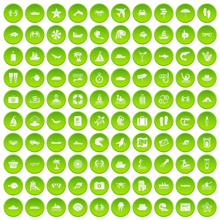 100 sea life icons set in green circle isolated on white vectr illustration