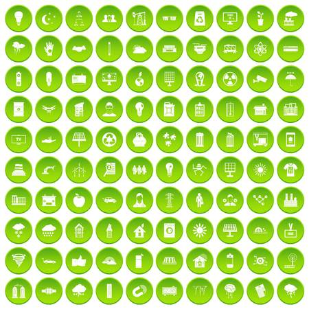 100 solar energy icons set in green circle isolated on white vectr illustration