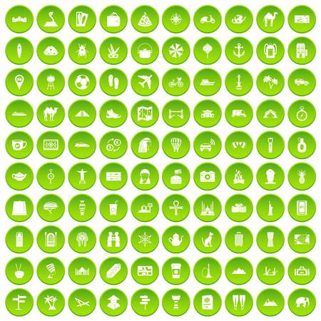 100 tourism icons set in green circle isolated on white vectr illustration