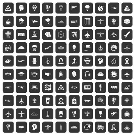 luggage carrier: 100 aviation icons set in black color isolated vector illustration