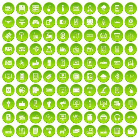 100 technology icons set in green circle isolated on white vectr illustration