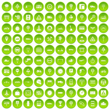 jeep: 100 traffic icons set in green circle isolated on white vectr illustration
