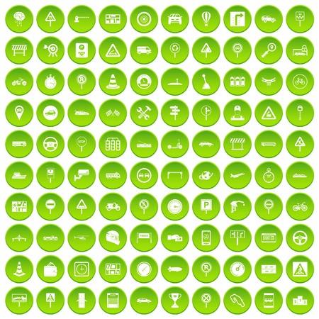 100 verkeerspictogrammen die in groene cirkel worden geplaatst die op witte vectrillustratie wordt geïsoleerd