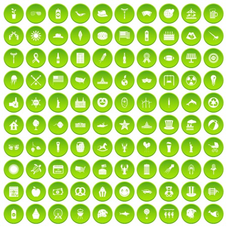 100 summer holidays icons set in green circle isolated on white vectr illustration