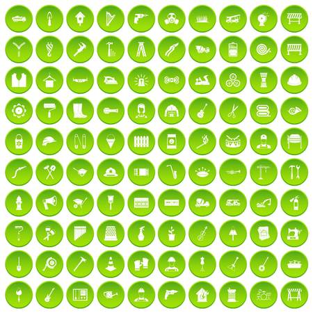 100 tools icons set green