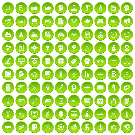 100 strategy icons set green