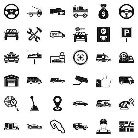 renting: Rent car icons set, simple style Illustration