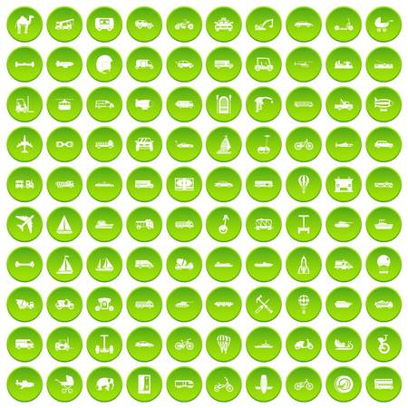 100 transport icons set green