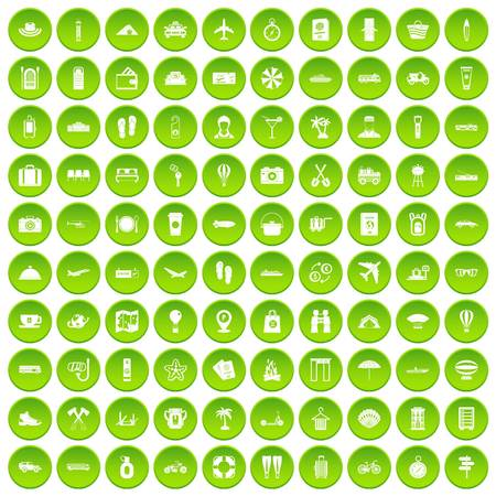 100 travel time icons set green Illustration