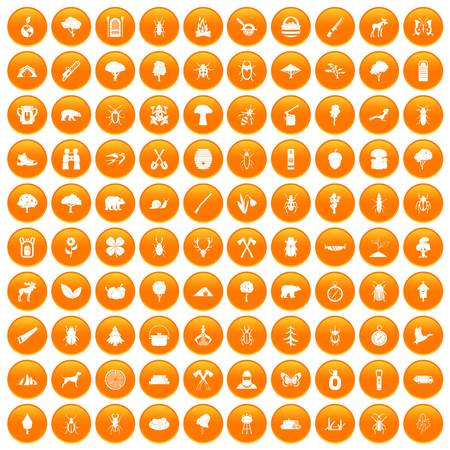 100 forest icons set orange