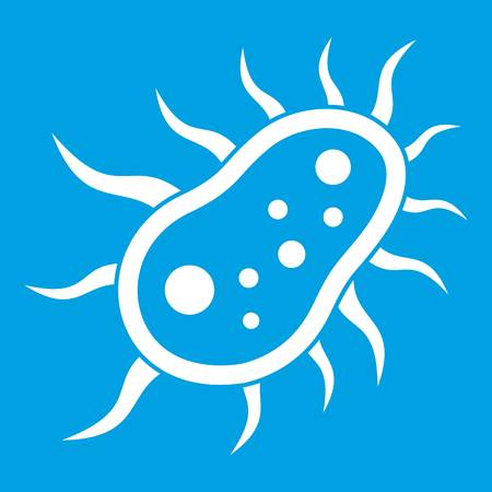 Bacteria centipede icon white isolated on blue background vector illustration