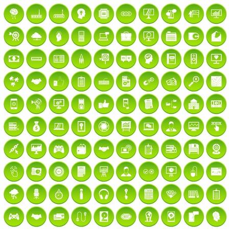 100 web development icons set green Illustration
