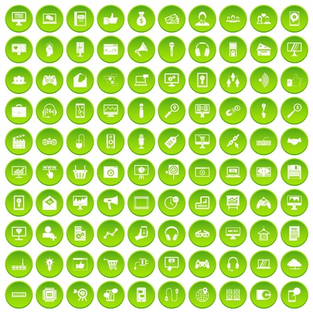 100 web and mobile icons set green Illustration