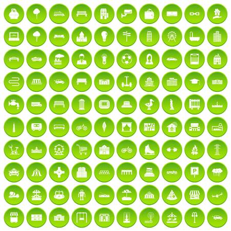 100 urban icons set in green circle isolated on white vectr illustration Illustration
