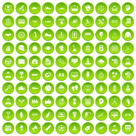 100 victory icons set green Illustration