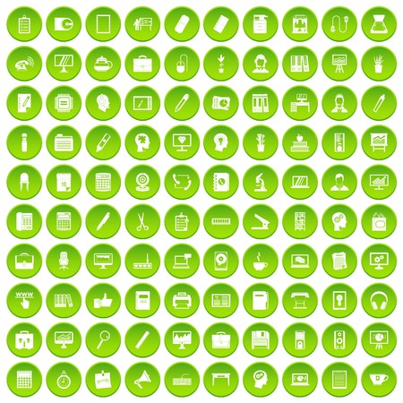 100 work space icons set green Illustration