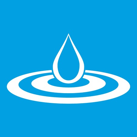 Water drop and spill icon white isolated on blue background vector illustration