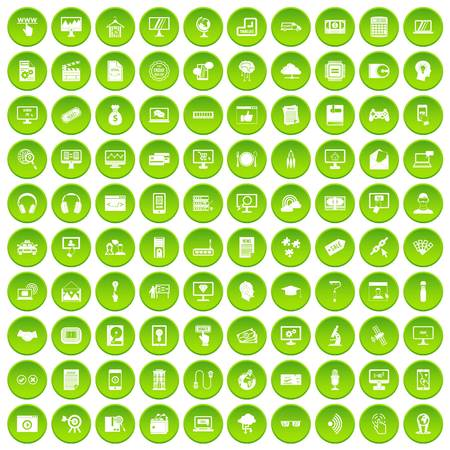 100 website icons set green