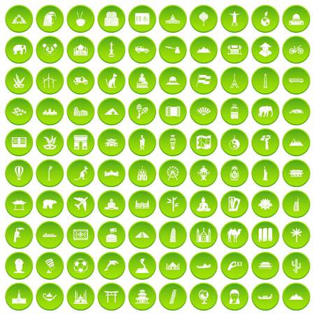 100 world tour icons set green