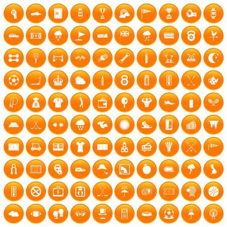 100 golf icons set orange