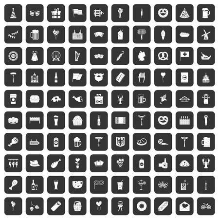 bbq barrel: 100 beer party icons set black Illustration