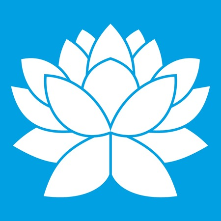 Lotus flower icon white isolated on blue background vector illustration