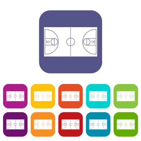 winning pitch: Basketball field icons set