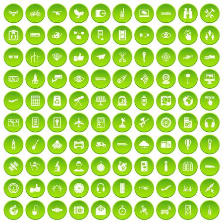 100 wireless technology icons set in green circle isolated on white vectr illustration