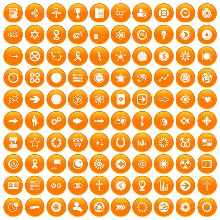 100 그래픽 요소 아이콘 오렌지 원 안에 흰색 벡터 일러스트 레이 션에서 절연 설정