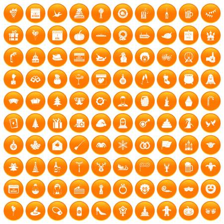 100 holidays icons set orange