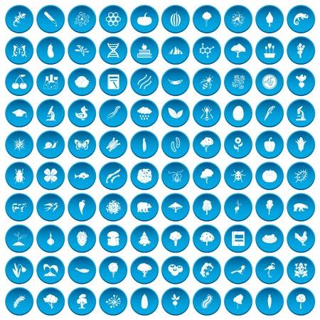 100 icone di microbiologia hanno messo nel cerchio blu isolato sull'illustrazione bianca di vectr