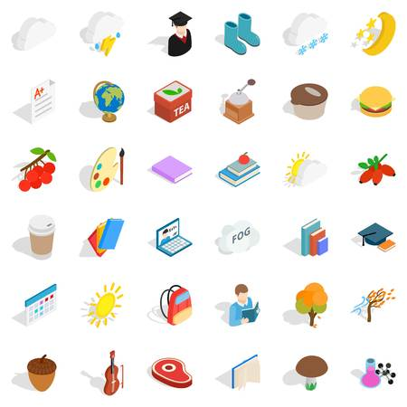 Autumn weather icons set. Isometric style of 36 autumn weather vector icons for web isolated on white background