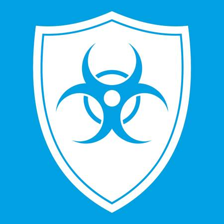 Shield with a biohazard sign icon white Stock Vector - 82904381