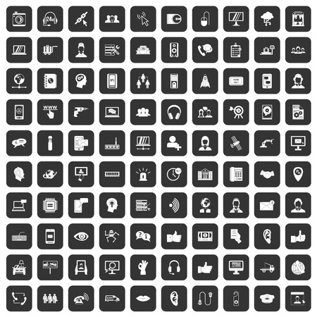 100 call center icons set black