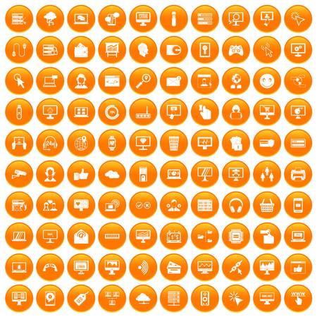 100 internet icons set orange